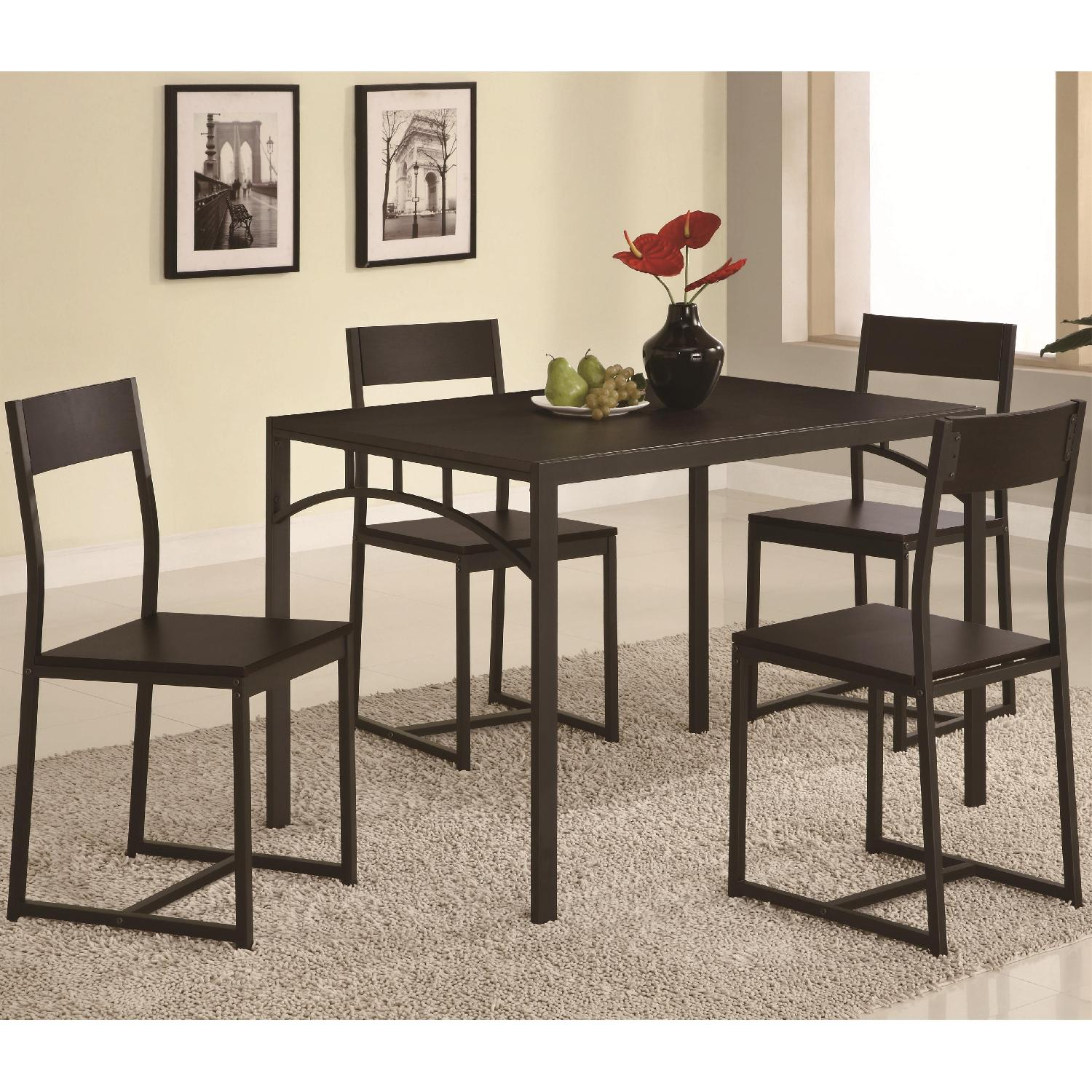 5-Piece Simple Chic Dining Set w/ Metal Frame & Wood Top - image-1