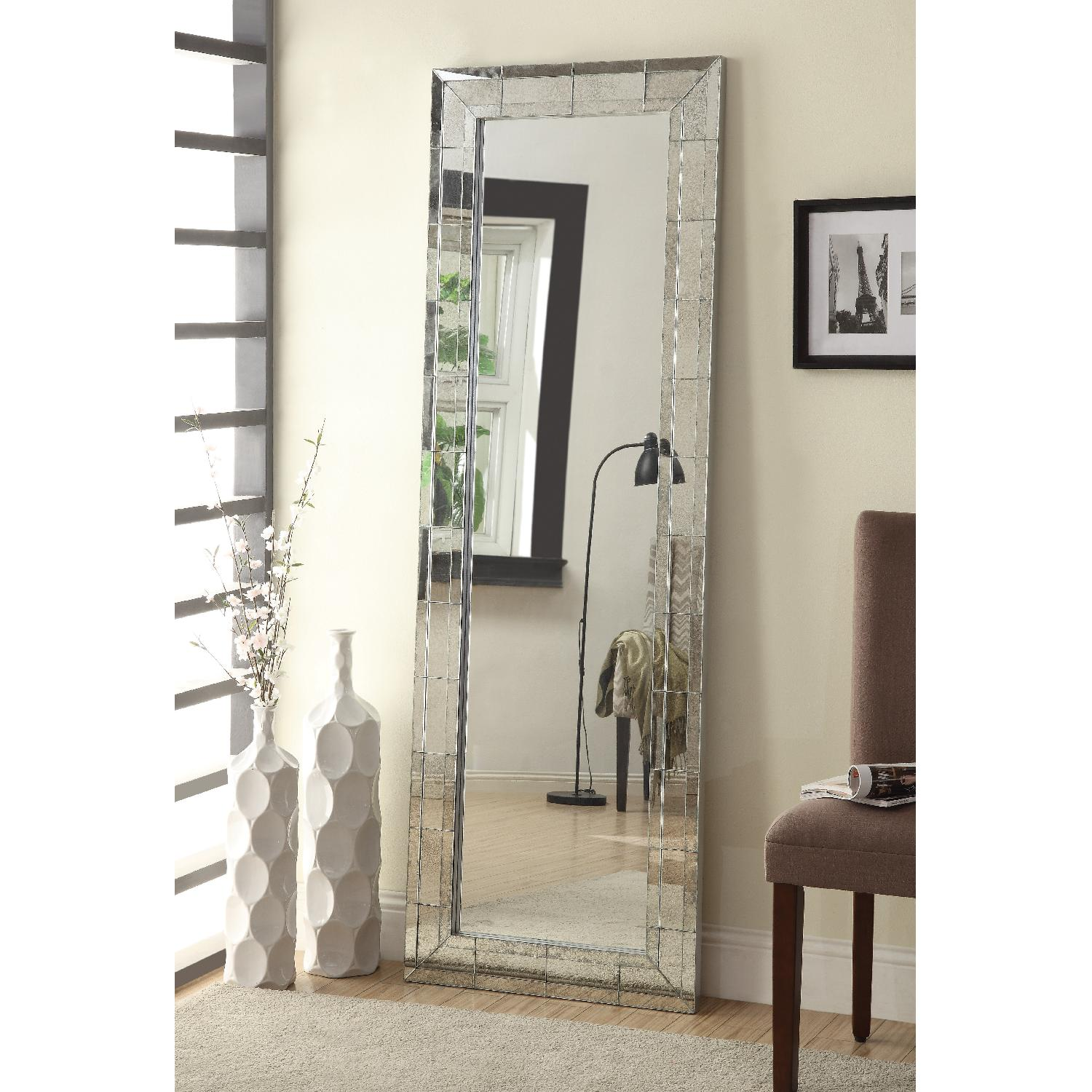 Full Length Mirror w/ Eclectic Vintage Style Mirrored Frame - image-1