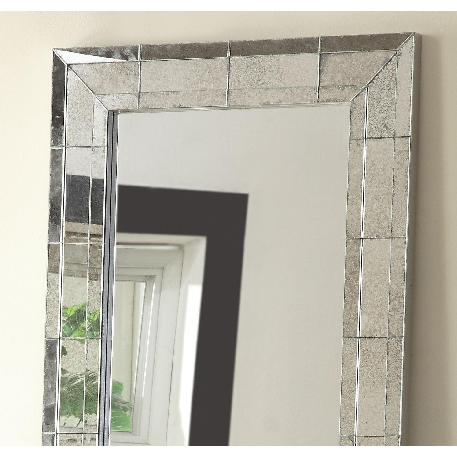Full Length Mirror w/ Eclectic Vintage Style Mirrored Frame - image-2