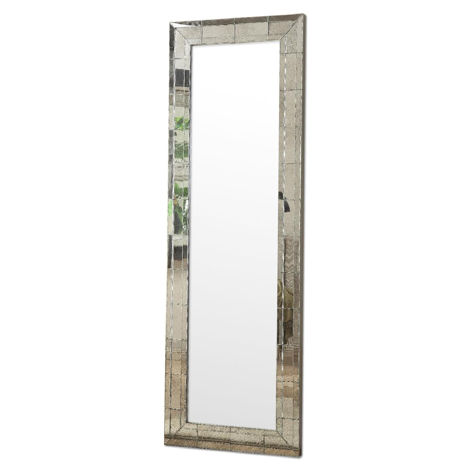 Full Length Mirror w/ Eclectic Vintage Style Mirrored Frame - image-0