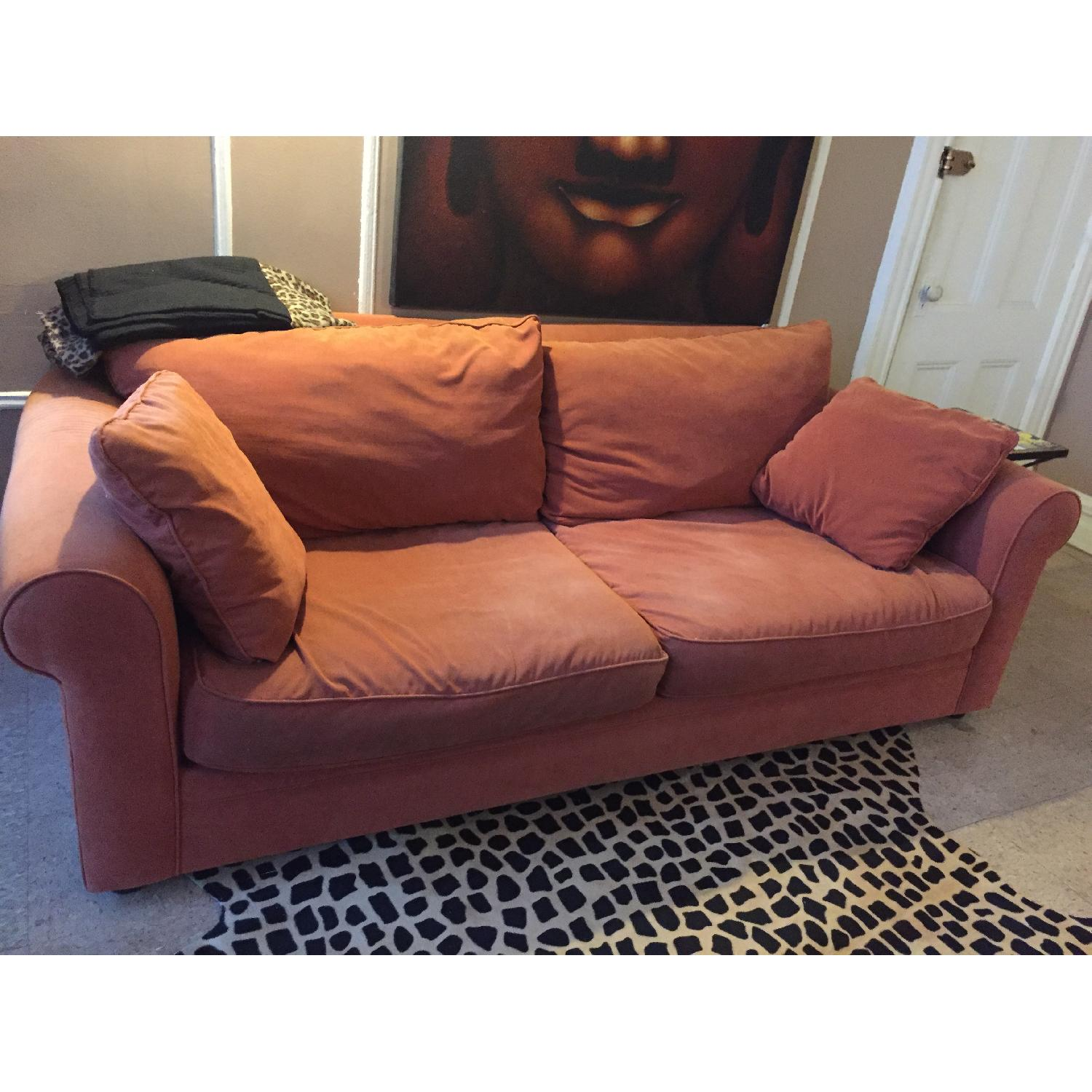 Orange Microsuede Couch - image-0