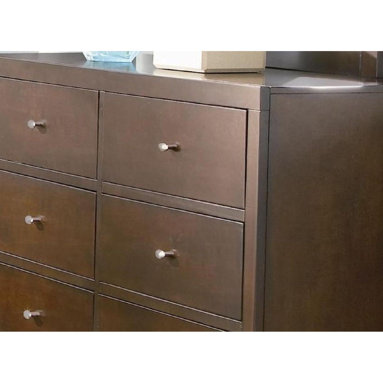 Minimalist Style 6-Drawer Dresser in Espresso Finish w/ Nickel Color Knobs - image-3