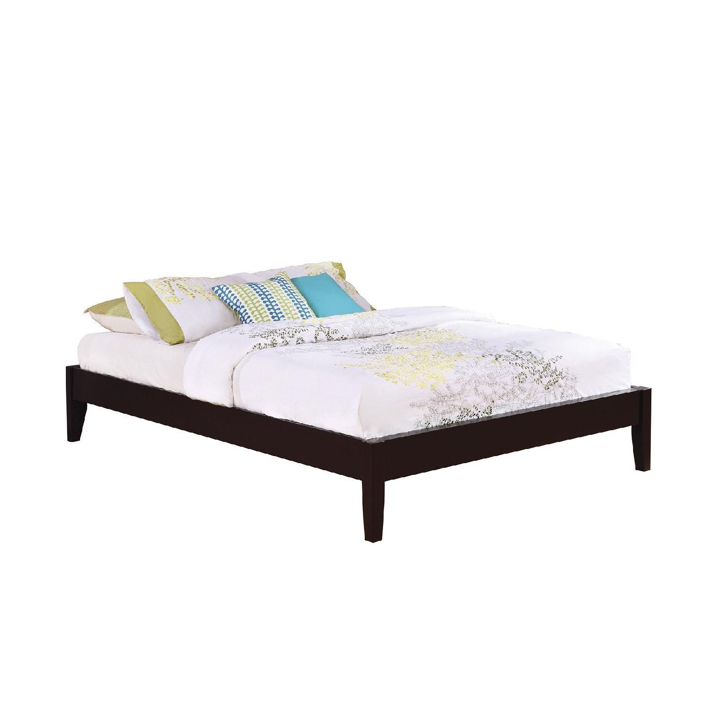 Solid Wood Queen Size Minimalist Platform Bed w/ Espresso Finish - image-0