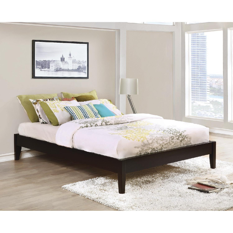 Solid Wood Queen Size Minimalist Platform Bed w/ Espresso Finish - image-1