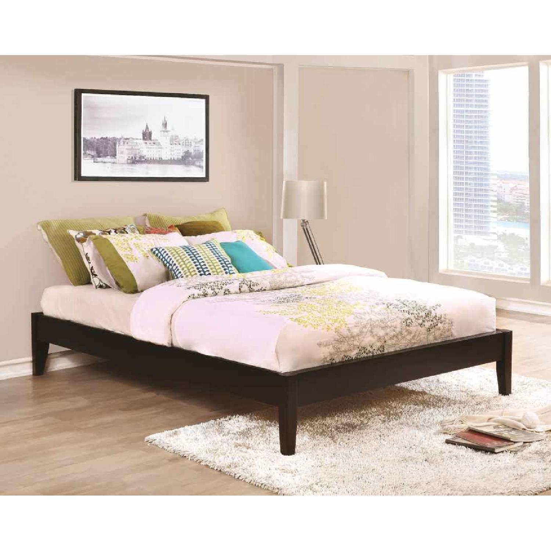 Solid Wood Twin Size Minimalist Platform Bed w/ Espresso Fin - image-2