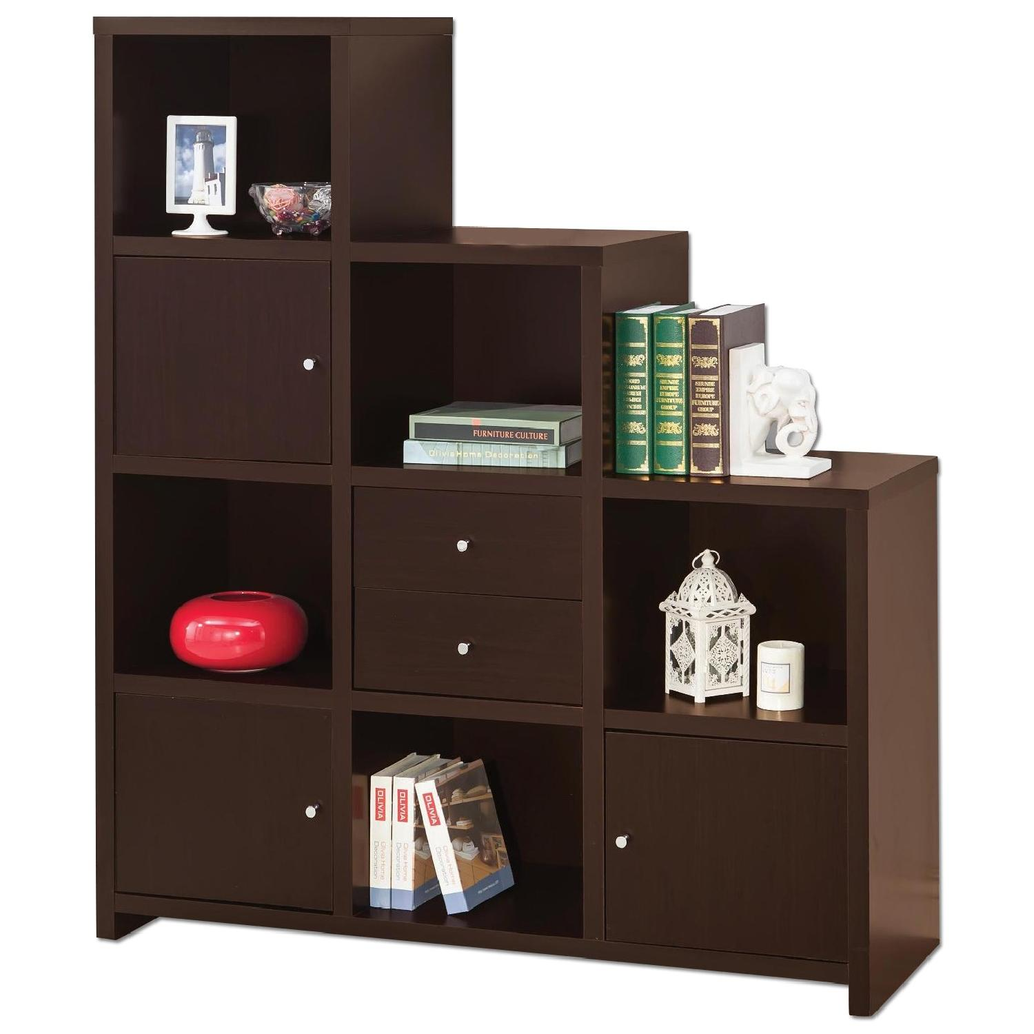 Reversible Asymmetric Shelf Cabinet in Cappuccino Finish