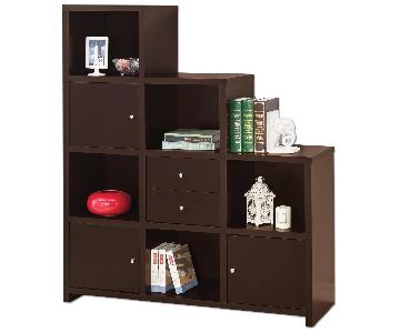 Reversible Asymmetric Shelf Cabinet in Cappuccino Finish