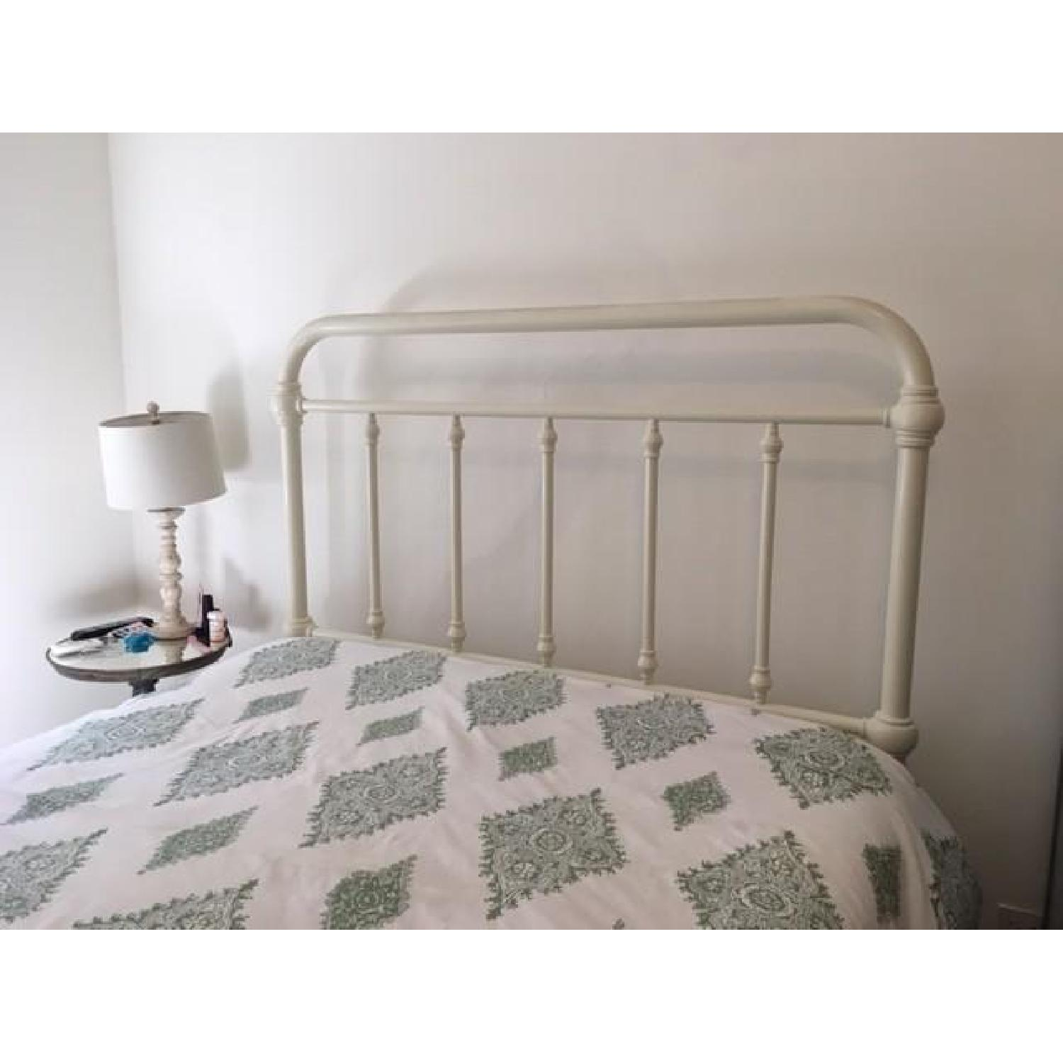 Pottery Barn Coleman White Iron Queen Bed Frame - image-1