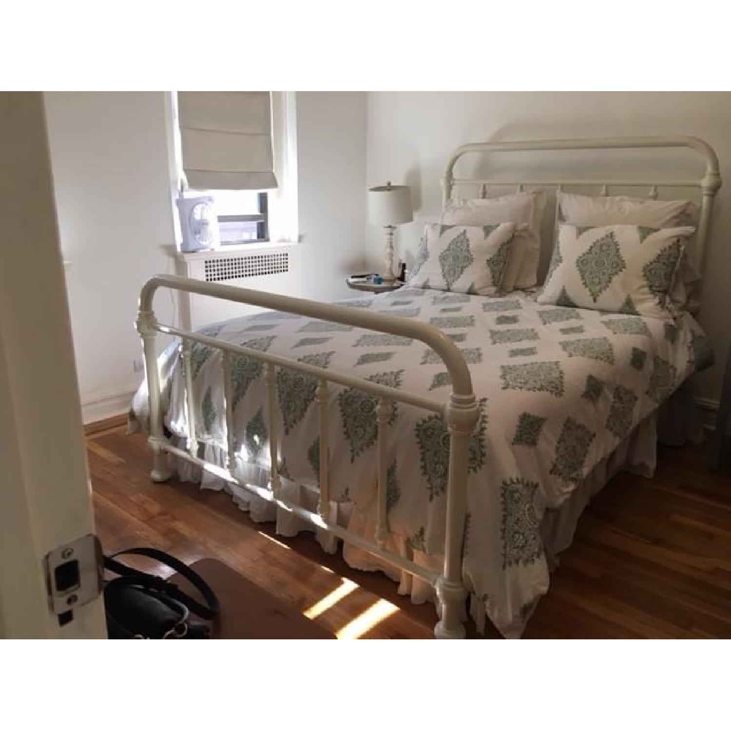 Pottery Barn Coleman White Iron Queen Bed Frame - image-3