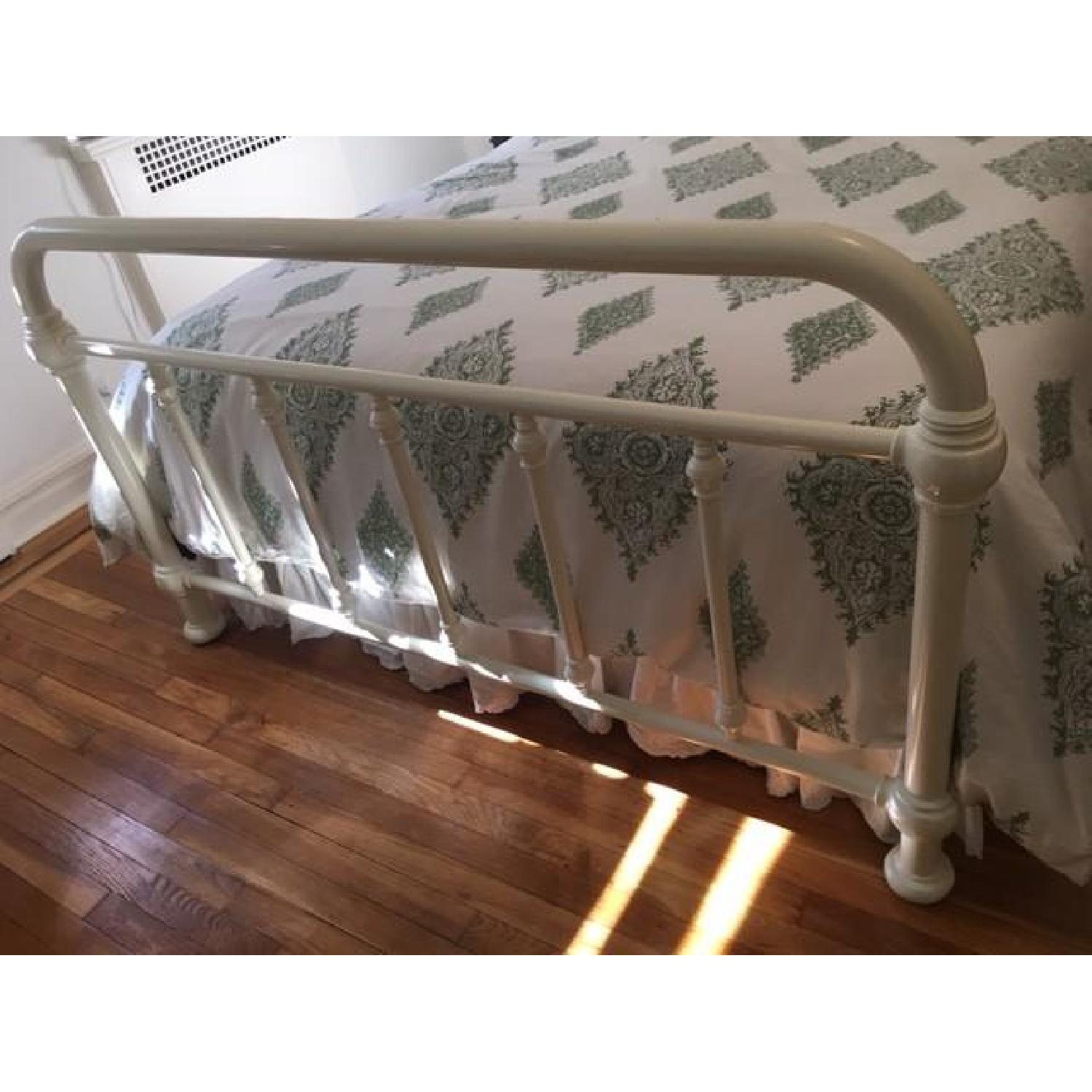 Pottery Barn Coleman White Iron Queen Bed Frame - image-4
