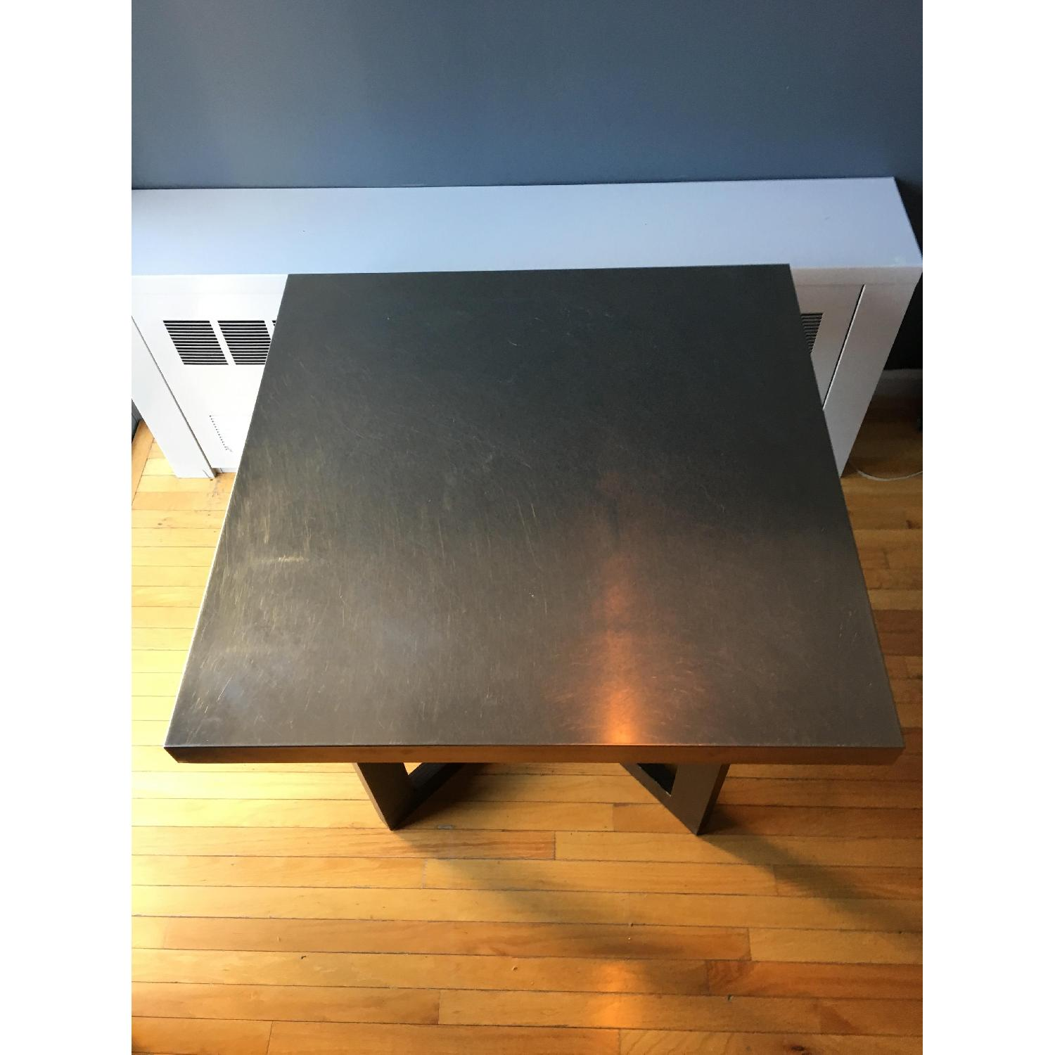 West Elm Solid Wood Table w/ Stainless Steel Top - image-1