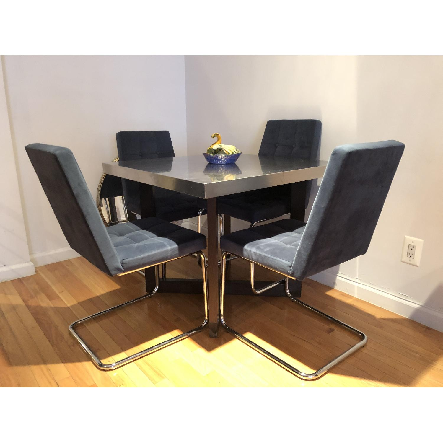 West Elm Solid Wood Table w/ Stainless Steel Top - image-0