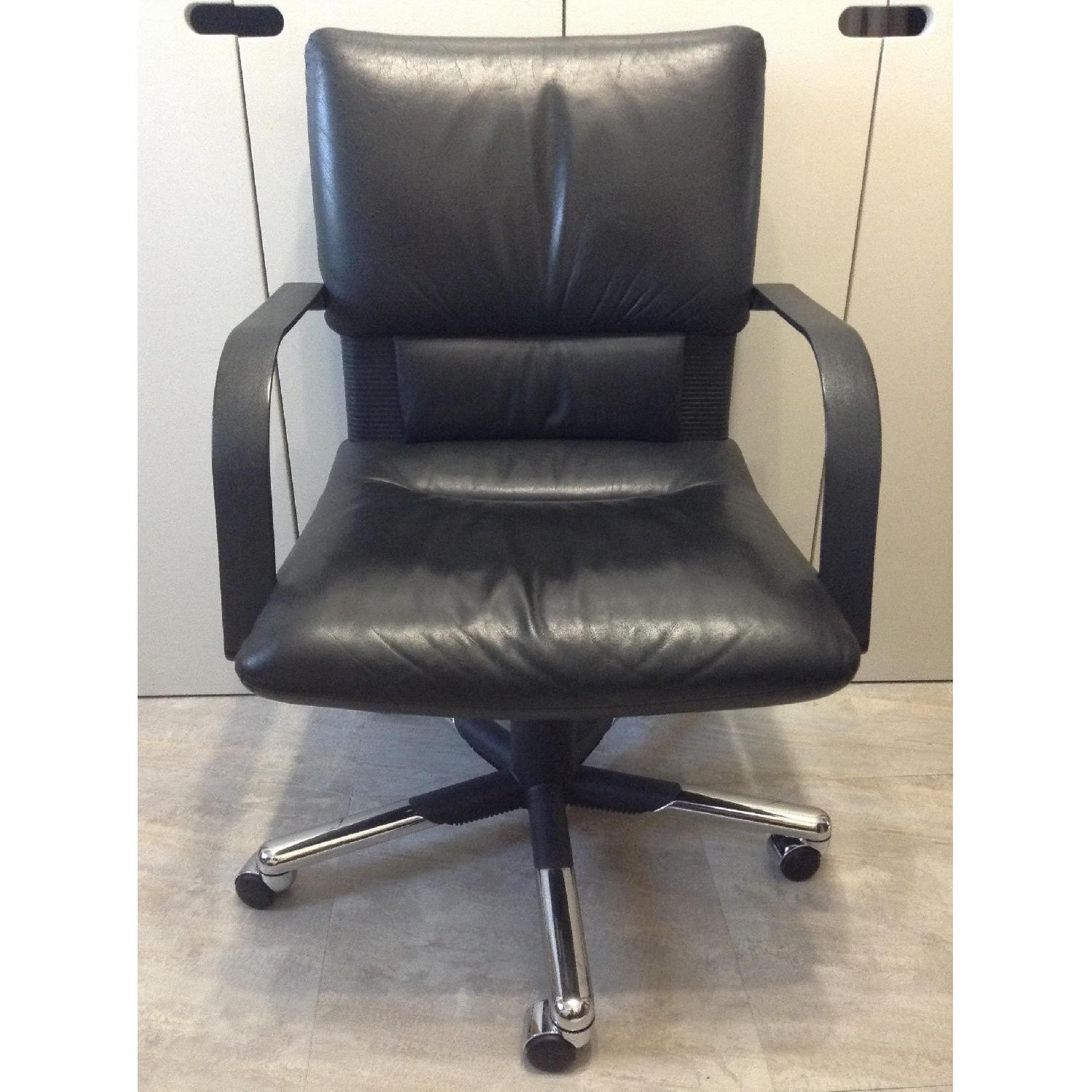 Vitra Black Leather Swivel Chair By Mario Bellini - image-1