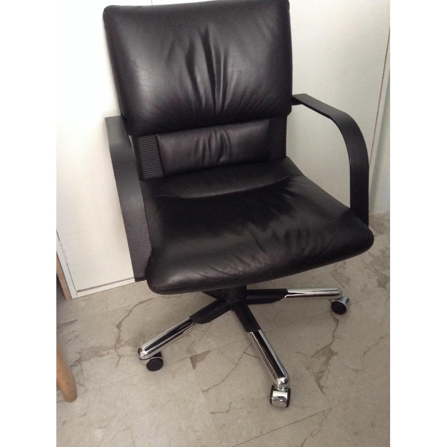 Vitra Black Leather Swivel Chair By Mario Bellini - image-12
