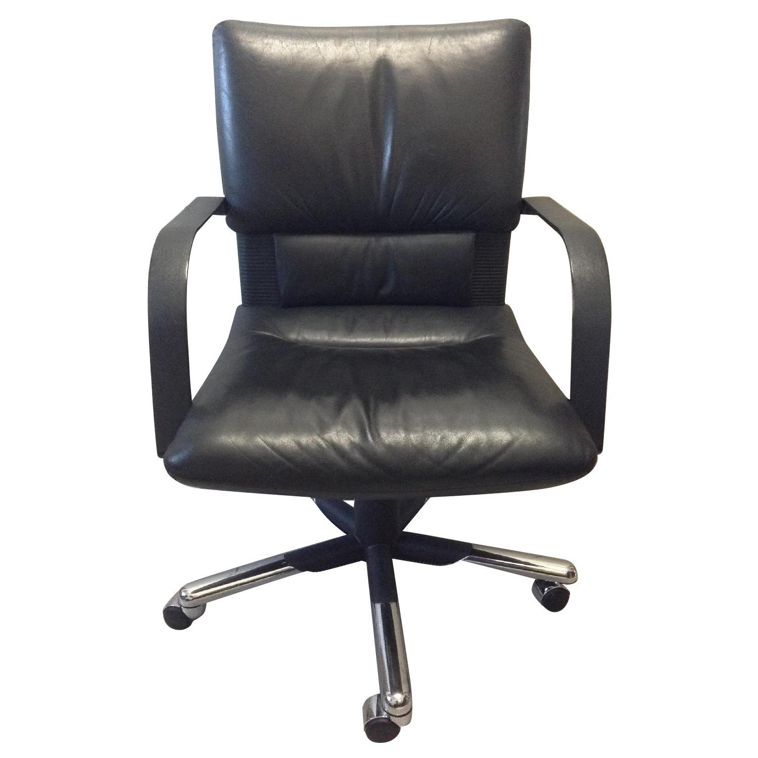 Vitra Black Leather Swivel Chair By Mario Bellini - image-0