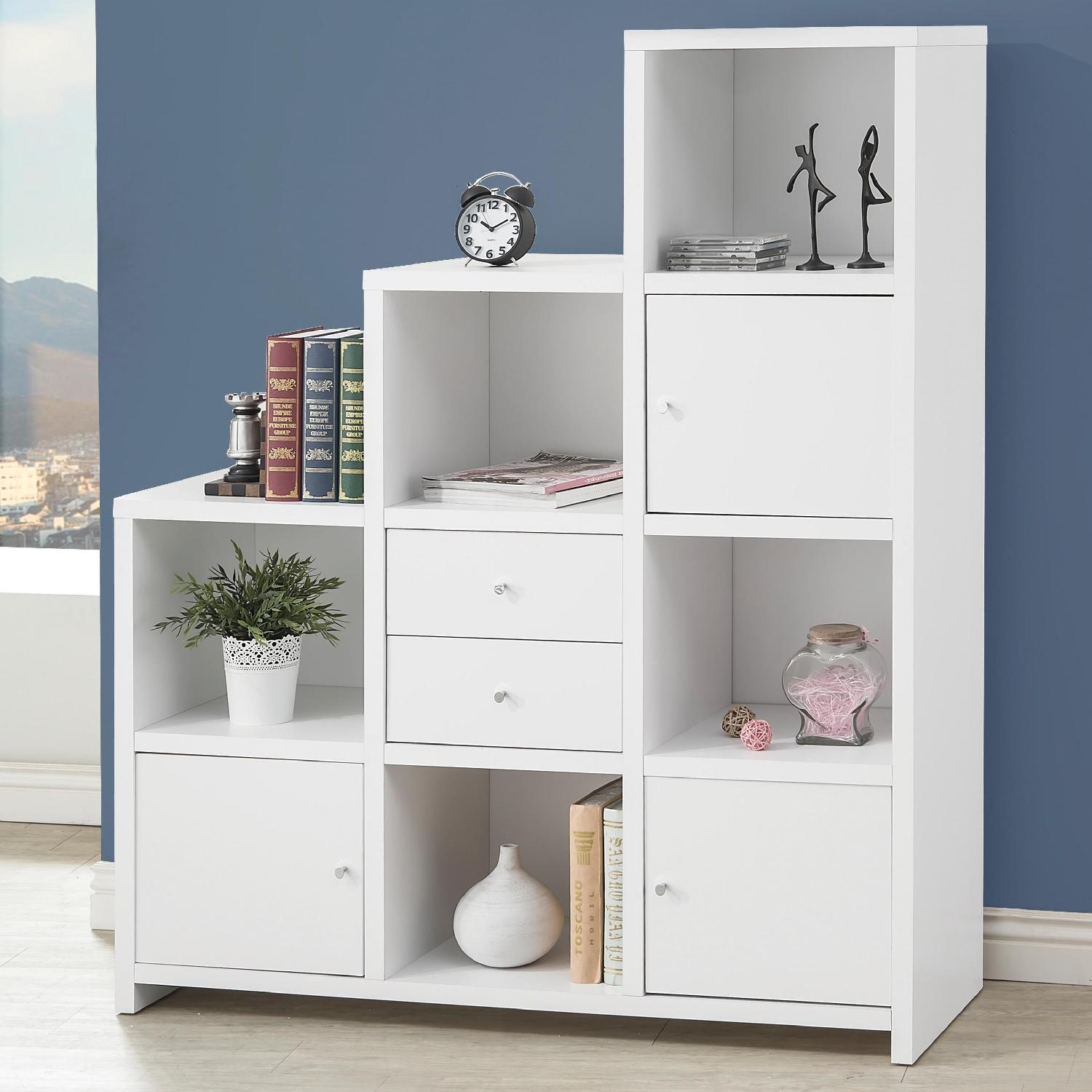 Reversible Asymmetric Shelf Cabinet in White Finish - image-1