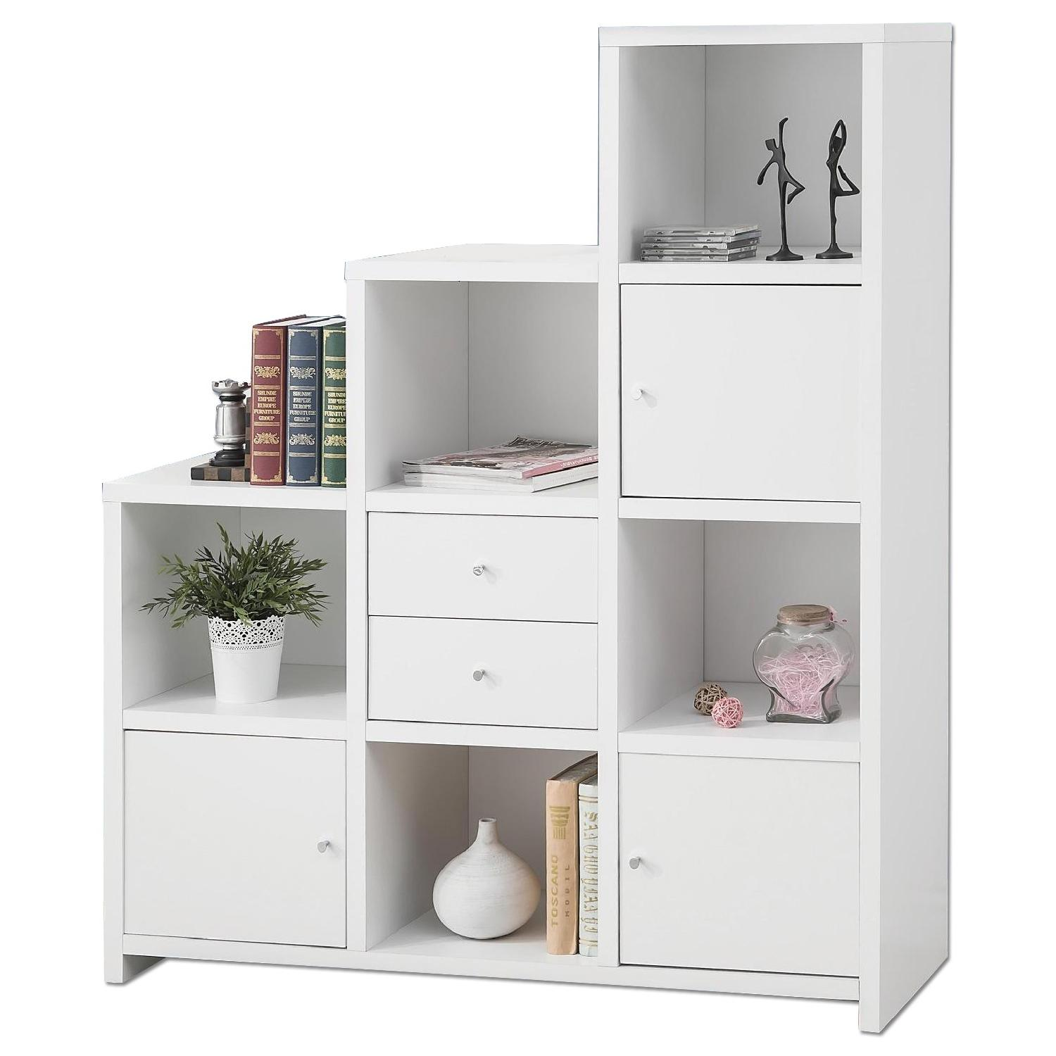 Reversible Asymmetric Shelf Cabinet in White Finish - image-0