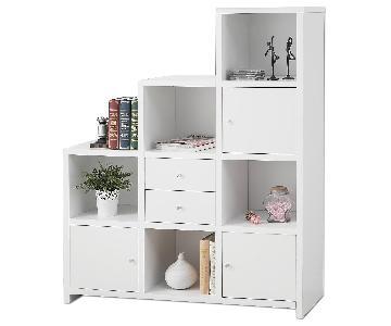 Reversible Asymmetric Shelf Cabinet in White Finish