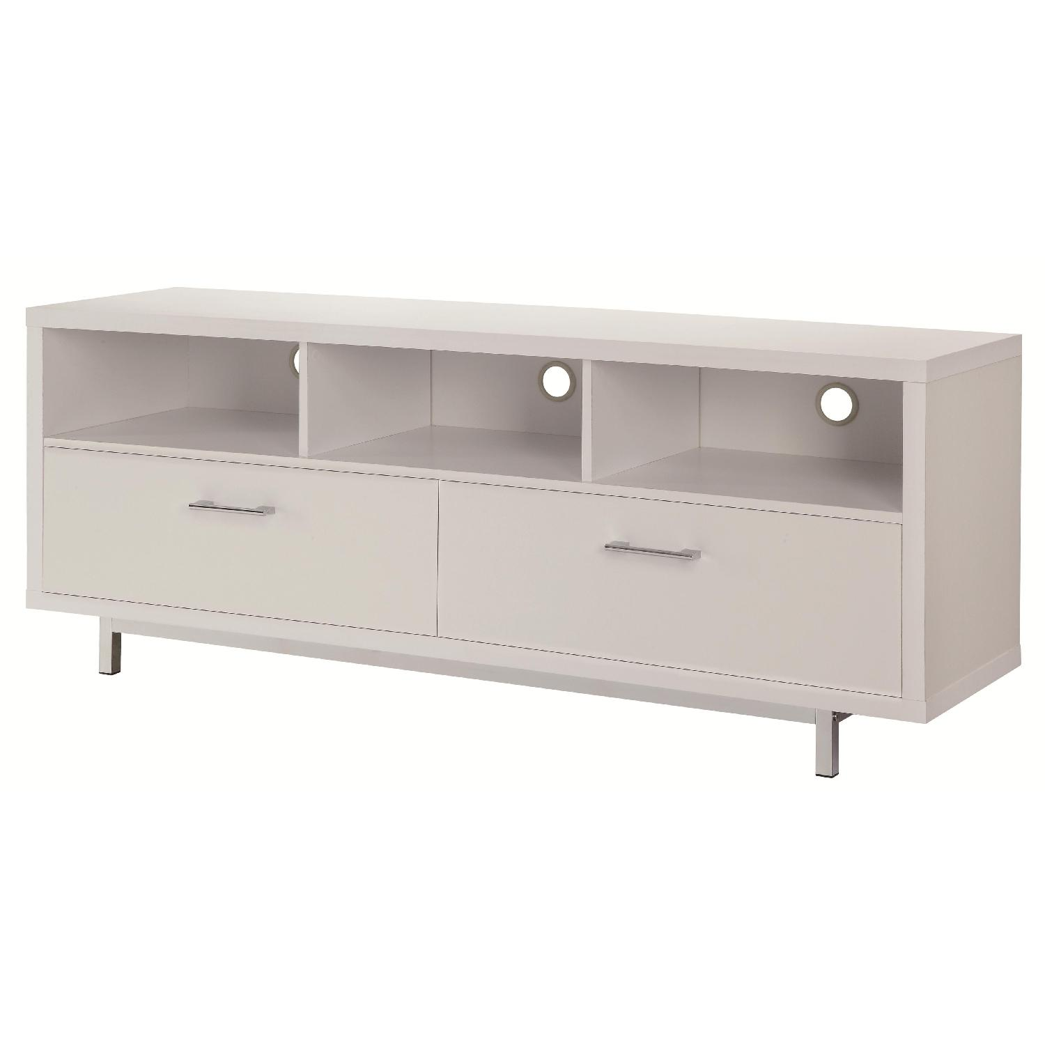 Modern TV Stand With 3 Media Shelves & 2 Utility Drawers w/ Silver Hardware in Matte White Finish - image-0