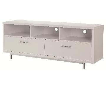 Modern TV Stand With 3 Media Shelves & 2 Utility Drawers w/ Silver Hardware in Matte White Finish