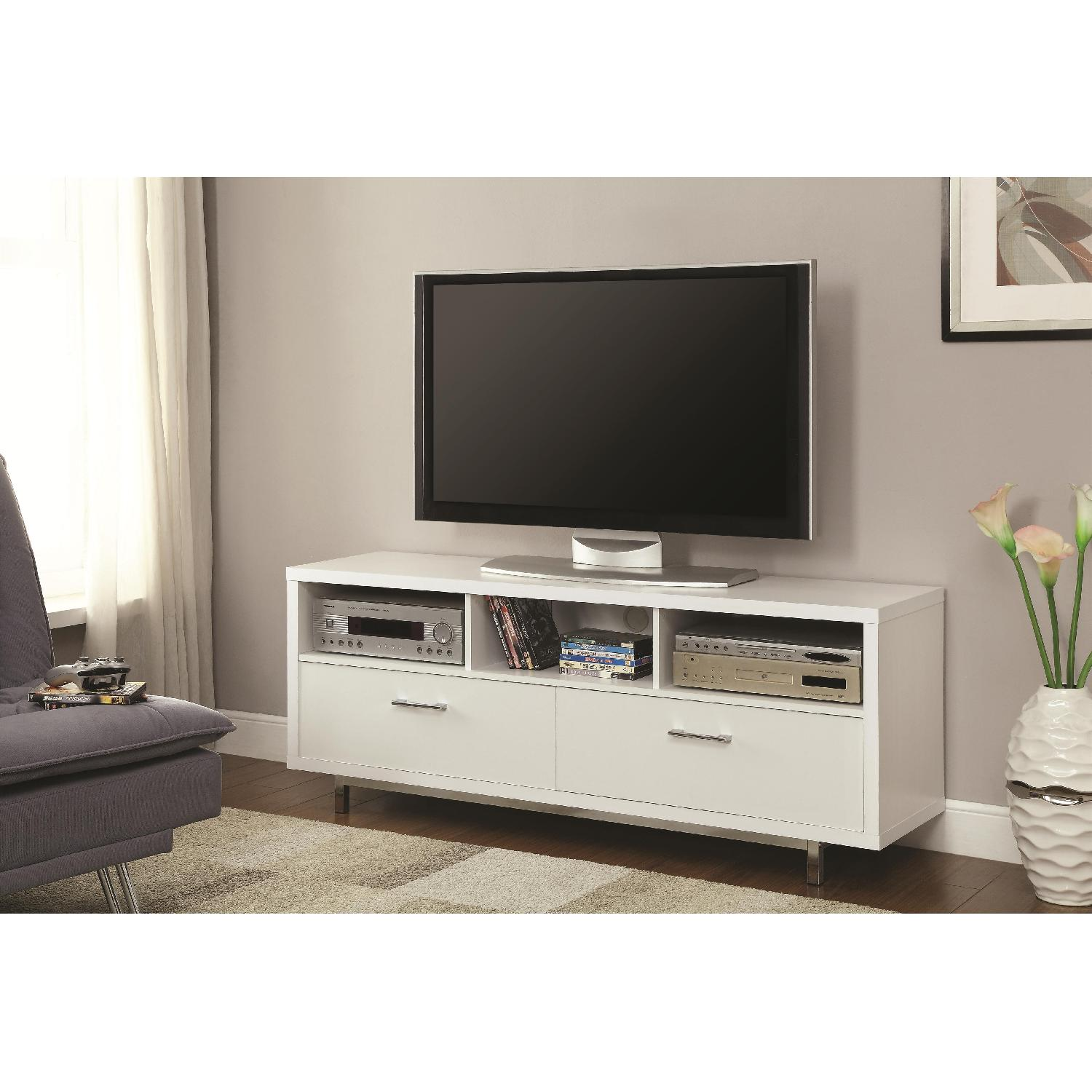 Modern TV Stand With 3 Media Shelves & 2 Utility Drawers w/ Silver Hardware in Matte White Finish - image-1