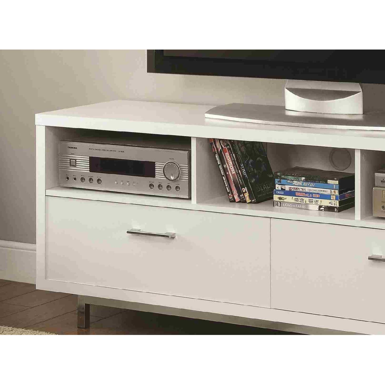 Modern TV Stand With 3 Media Shelves & 2 Utility Drawers w/ Silver Hardware in Matte White Finish - image-2