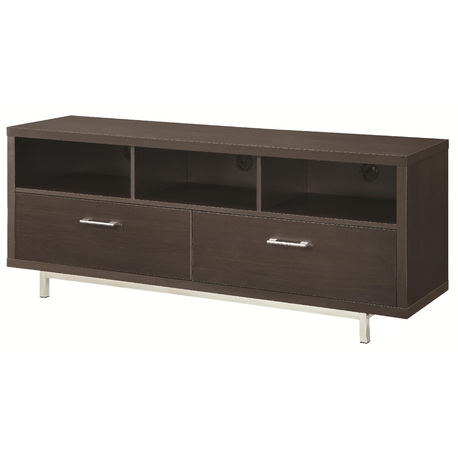Modern TV Stand w/ 3 Media Shelves & 2 Utility Drawers w/ Si - image-0