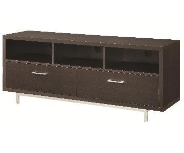 Modern TV Stand w/ 3 Media Shelves & 2 Utility Drawers w/ Si