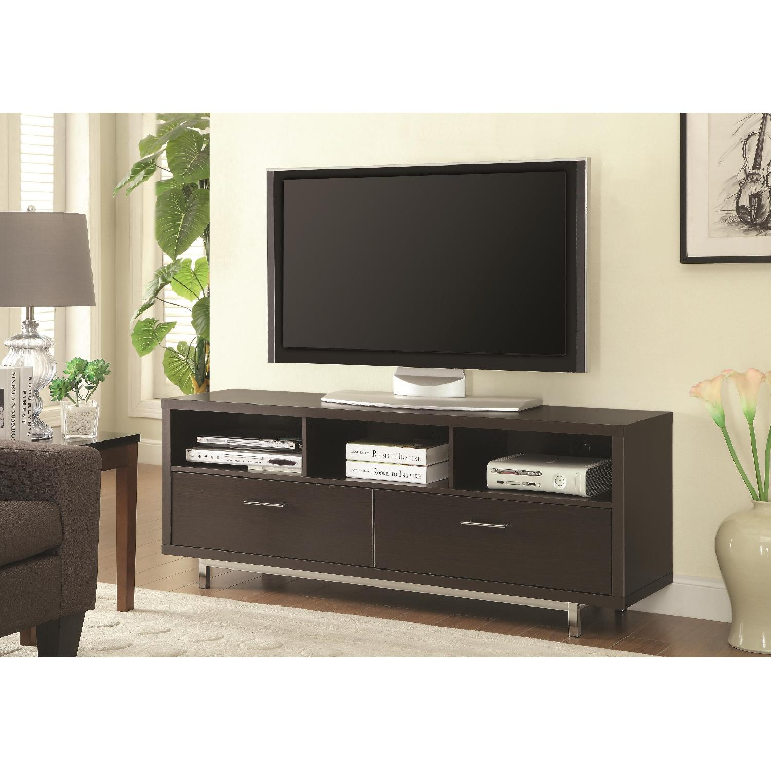 Modern TV Stand w/ 3 Media Shelves & 2 Utility Drawers w/ Si - image-1
