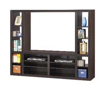 Media Unit w/ Shelves in Minimalist Clean Line Design