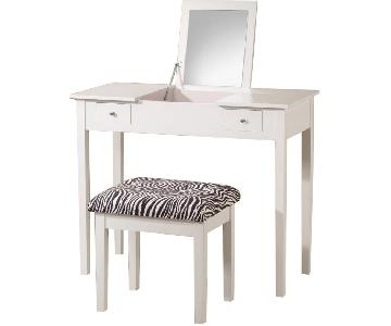 Vanity w/ Hidden Mirror & Storage Compartment & Stool in White Finish