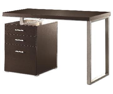 Modern Desk w/ Storage Cabinet in Cappuccino Finish w/ Metal Legs