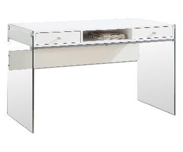 Modern Writing Desk in Gloss White w/ Tempered Glass Legs