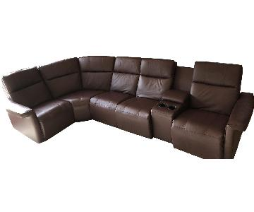 Elran Power Reclining Burgundy Sectional Sofa