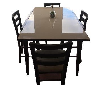 Calligaris Extendable Bar Height Table w/ 4 Bar Stools