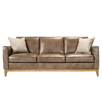 Raymour & Flanigan Berkley Latte Leather Sofa