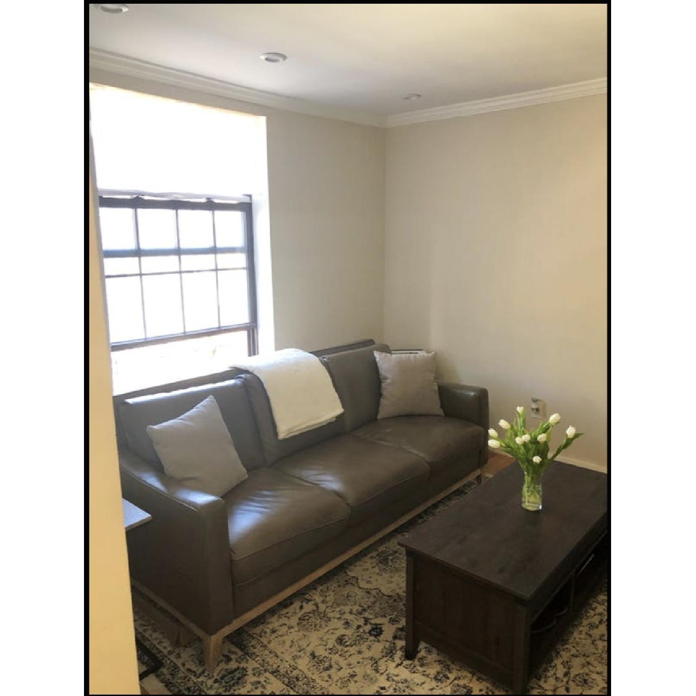 Raymour & Flanigan Berkley Latte Leather Sofa