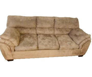 Light Brown Sofa w/ Microfiber Upholstery