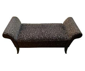 Brown Fabric Settee/Bench