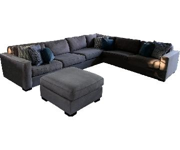Mitchell Gold + Bob Williams Grey Sectional Sofa & Ottoman