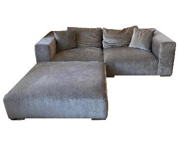 Light Grey 2 Piece Sectional Sofa & Ottoman