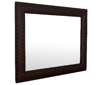 Ethan Allen Leather Lattice Mirror