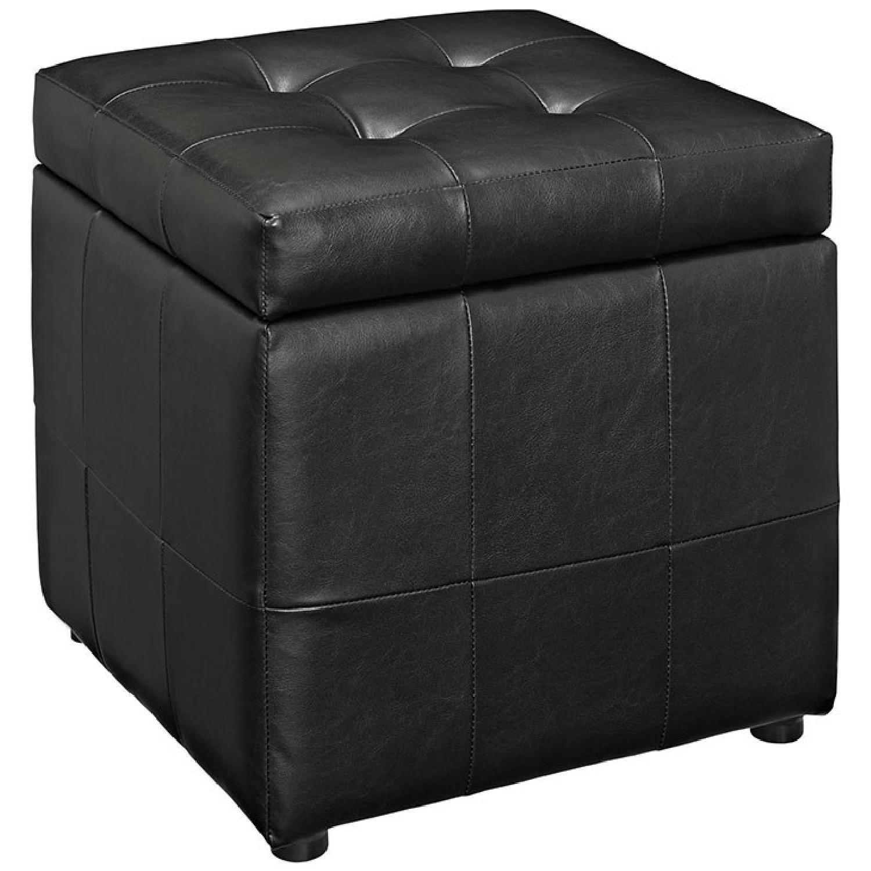 Manhattan Home Design Storage Vinyl Ottoman in Black