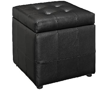Manhattan Home Design Storage Vinyl Ottoman in Black