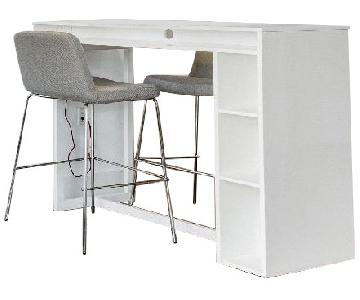 CB2 White High Dining Table w/ 2 Grey Bar Stools