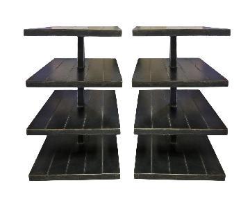 Black Metal Shelves on Wheels