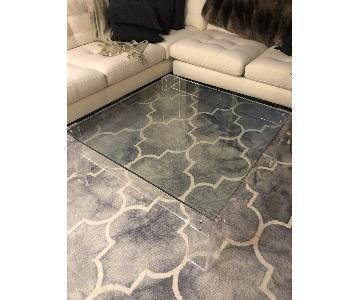 Crate & Barrel Square Glass Coffee Table