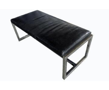 Danish Modern Chrome & Leather Bench