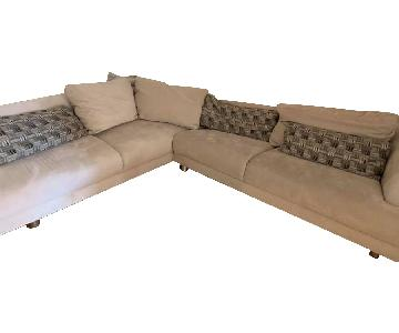 Beige Microsuede 2-Piece Sectional Sofa