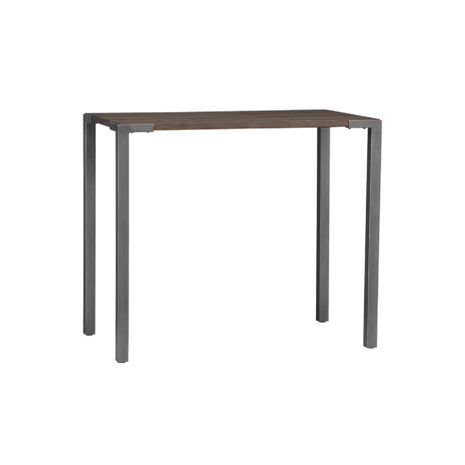 CB2 Bar Height Table w/ 4 White Leather Stools